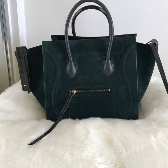 19b7bbc10b Authentic Celine Phantom Luggage in Suede green